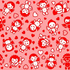 Cupids Set, Red Icons Stock Photography