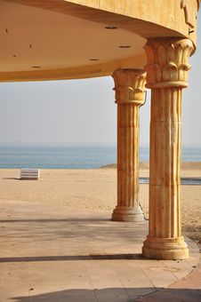 Free Greek Beach Panorama Bench Stock Image - 22136111