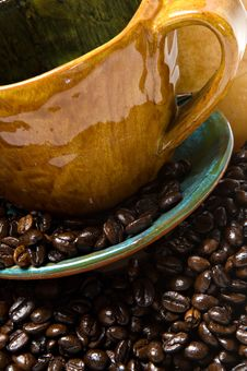 Free Detail Of A Coffee Mug With Coffee Beans Stock Photos - 22137753
