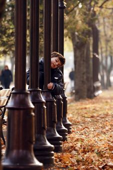 Little Boy In Autumn Park. Stock Image