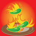 Free Hot Chili Peppers Burning On A Plate Royalty Free Stock Photos - 22141138