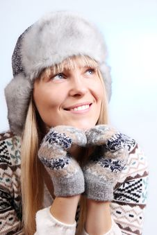 Free Pretty Young Blonde In A Warm Sweater Royalty Free Stock Photography - 22141167