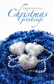 Free Silver Christmas Hearts On Blue Royalty Free Stock Photography - 22141467