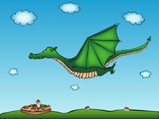 Free Flying Dragon With Village Background Stock Photo - 22142290