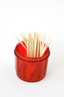 Free Toothpicks In Red Box Royalty Free Stock Photography - 22142747