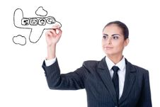 Free Young Businesswoman With An Empty Diagram Royalty Free Stock Image - 22144046
