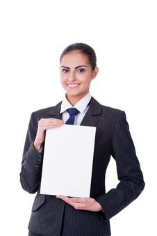 Free Young Businesswoman Pointing Into Empty Royalty Free Stock Image - 22144086