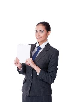 Young Businesswoman Pointing Into Empty Stock Photo