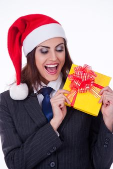 Businesswoman Wearing A Santa S Hat Stock Images
