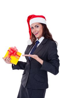 Businesswoman Wearing A Santa S Hat Royalty Free Stock Photo