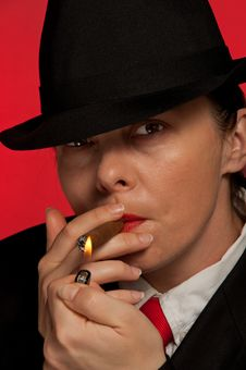 Woman With Cigar Stock Photography