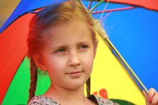 Free Portrait Of Little Girl  An Umbrella Royalty Free Stock Photos - 22147068