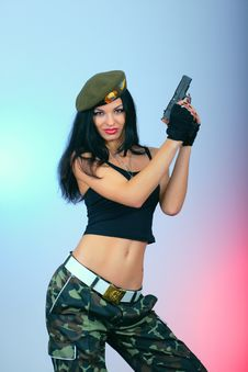 Free Attractive Girl With Hand Gun Stock Photos - 22150513