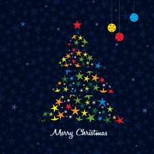 Colorful Christmas Tree Background. Vector. Royalty Free Stock Image