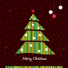 Free Stripes Christmas Tree Background. Vector. Royalty Free Stock Image - 22151096