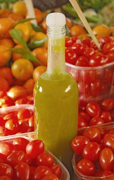 Olive Oil And Fresh Tomatoes Stock Photo