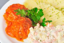 Free Meatballs In Tomato Sauce Stock Photography - 22151522