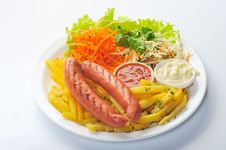Free Sausage On Plate Stock Photography - 22152262