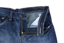 Front Blue Jeans Open Zip Royalty Free Stock Image