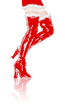 Legs In Red Boots Stock Photo