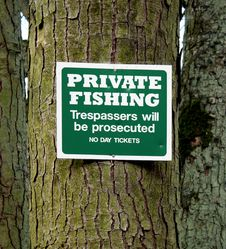 Free Private Fishing Sign Stock Photography - 22159382