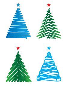 Free Stylized Christmas Trees Royalty Free Stock Photos - 22159498