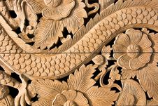 Free Carved Wooden On Wall Royalty Free Stock Photo - 22159765
