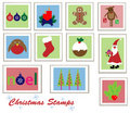 Free Christmas Stamps Set Stock Images - 22160794