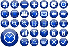 Free Blue Round Web Button Set Royalty Free Stock Photo - 22163075