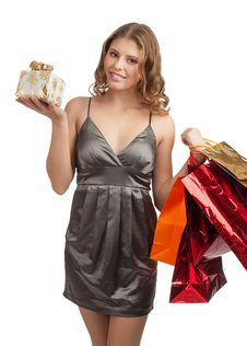 Free Woman With Christmas Gifts Royalty Free Stock Image - 22168746