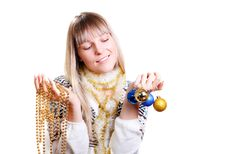 Free Beautiful Woman With Christmas Decorations Royalty Free Stock Photos - 22171938