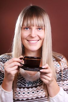 Beautiful Blonde With A Cup Royalty Free Stock Images