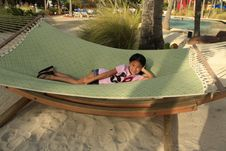 Free Little Chinese Girl On Hammock Stock Images - 22175434