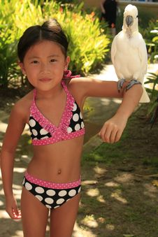 Free Chinese Girl Holding Bird Royalty Free Stock Photos - 22175508