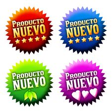 Free New Arrival Sticker With Text In Spanish Royalty Free Stock Photo - 22176165