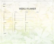 Free Weekly Planner Stock Photography - 22177652