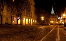 Free City Center In Lviv At Night Royalty Free Stock Photo - 22182785