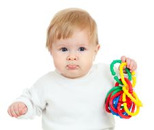 Free Cute Little Child Playing With Toys Royalty Free Stock Image - 22184436