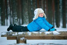 Free Portrait Of A Little Boy Playing In Winter Forest Royalty Free Stock Image - 22186846