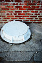 Free The White Manhole. Vertically Royalty Free Stock Images - 22194729