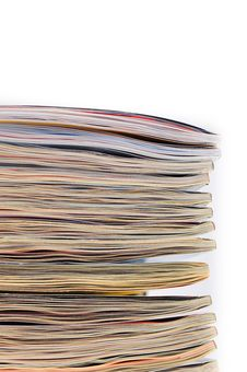 Free Pile Of Magazines On White Background Royalty Free Stock Images - 22190639