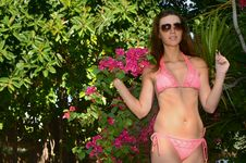 Free Beautiful Swimsuit Model In The Tropical Forest Royalty Free Stock Images - 22191309