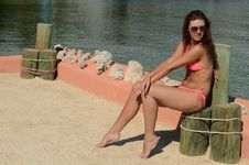 Free Beautiful Swimsuit Model In The Tropical Beach Royalty Free Stock Photography - 22191327