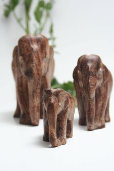 Family Of Wooden Elephants Stock Photography