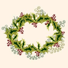 Free Cristmas Wreath Made From Holly Branches Stock Image - 22194541
