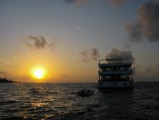 Sunset At Baa Atoll Stock Photos