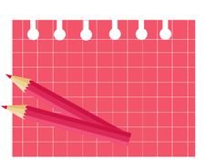 Free Pink Pensil And Sheet In Cell. Stock Photography - 22198352