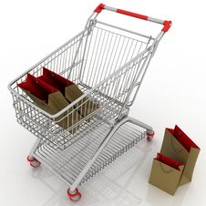 Free Shopping Cart And Shopping Bags Stock Photography - 22198362
