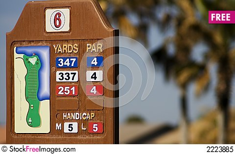 Free Golf Course Yardage Marker Royalty Free Stock Photo - 2223885