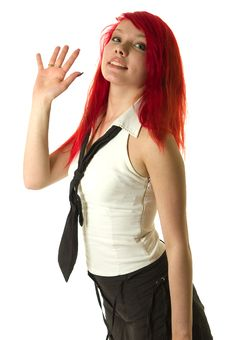 Free Pretty Redhead Girl Raising Hand Stock Images - 2222154